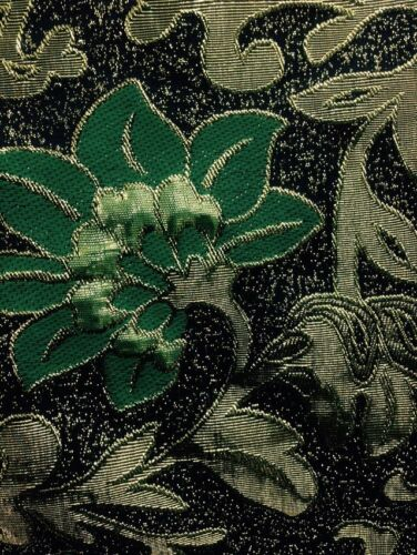 Brocade Zari Floral Black Gold //green 58/""