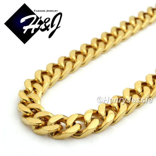 """24/""""Stainless Steel 9x4mm Silver//Gold//Black Cuban Curb Chain Necklace Pendant*J28"""