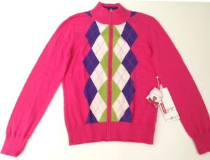 Ladies-Full-Zip-Golf-Sweater-with-Argyle-pattern