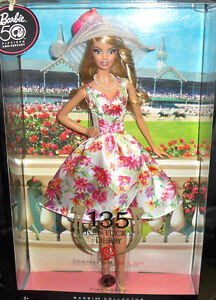 BARBIE-KENTUCKY-DERBY-NRFB-PINK-LABEL-new-model-muse-doll-collection-Mattel