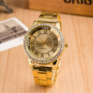New-Ladies-Watch-Stainless-Steel-Round-Lovers-039-Rome-Watch-Diamond-Watches