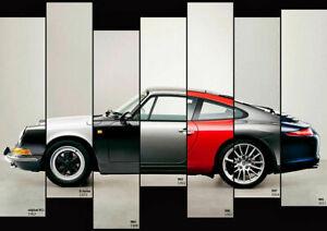 The-Evolution-Of-The-Porsche-911-Auto-Car-Art-Silk-Wall-Poster-Print-24x36-034