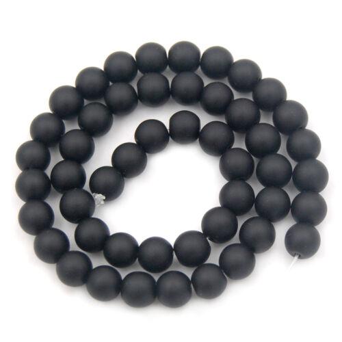 """Negro ágata redonda suelta granos 15.5/"""" Suave Y Esmerilado 4 mm 6 mm 8 mm 10 mm 12 mm"""