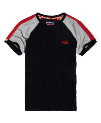 """Superdry Orange Label Black Racer Cut /& Sew Ringer Tee T-Shirt Size L 40/"""""""
