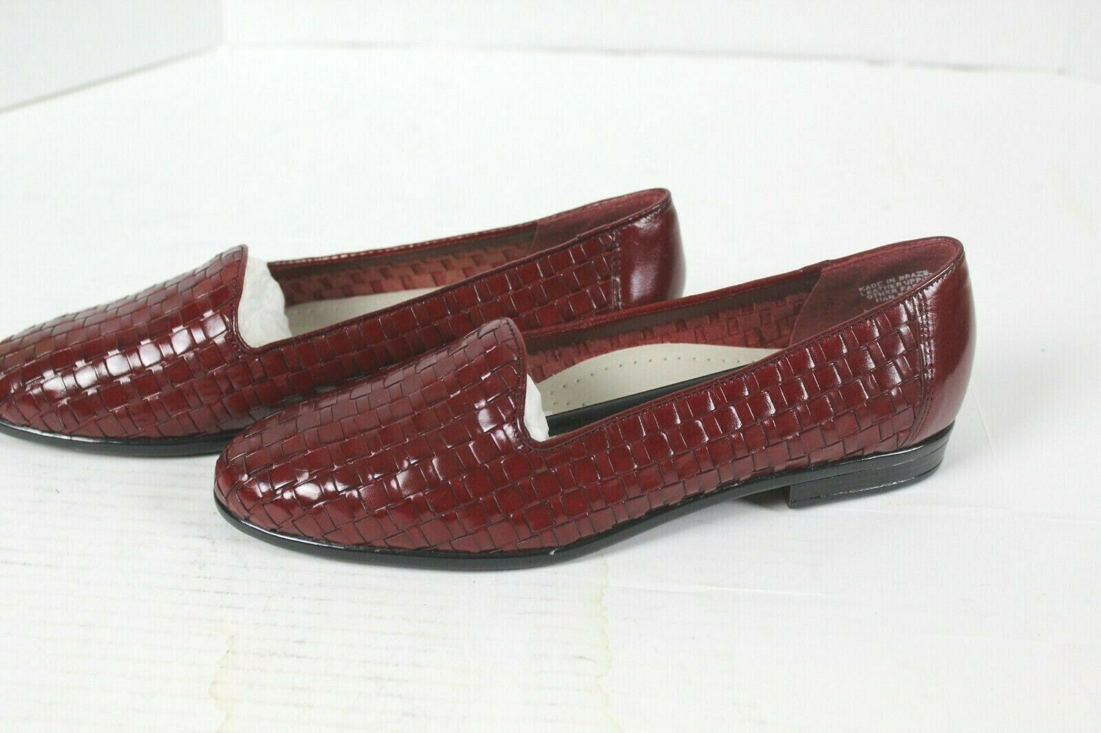Tredters Liz Red Leather Women's shoes Basket Weave Slip On Flats Size 7.5M NEW
