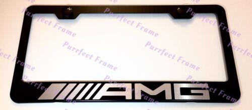 Mercedes AMG LASER Style Black Stainless Steel License Plate Frame W// Bolt Caps