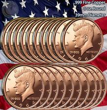 20 Beautiful Rounds 1964 Kennedy Half Dollar 1oz .999 Copper 1 Roll Plastic Tube