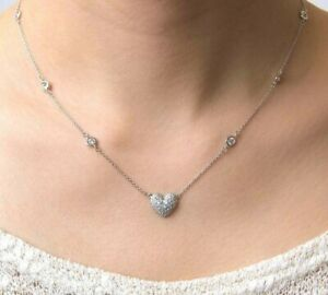 Round-Diamonds-0-80Ct-14k-White-Gold-Over-By-The-Yard-Heart-16-034-Chain-Necklace