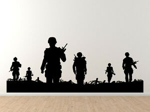 Military Silhouette Soldiers Walking On Patrol Marine