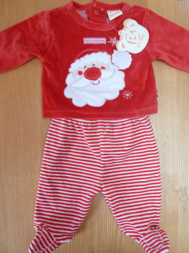 Baby Boys /& Girls Fleecy Santa Christmas Top /& Trouser Set Outfit BNWT NB 3-6m