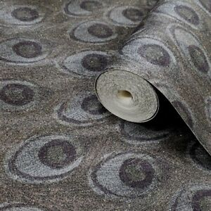 Wallpaper-green-gray-textured-faux-Peacock-wall-coverings-gold-metallic-rolls-3D