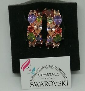 Orecchini-da-donna-a-cerchio-Oro-Placcato-con-Cristalli-Swarovski-Multicolori