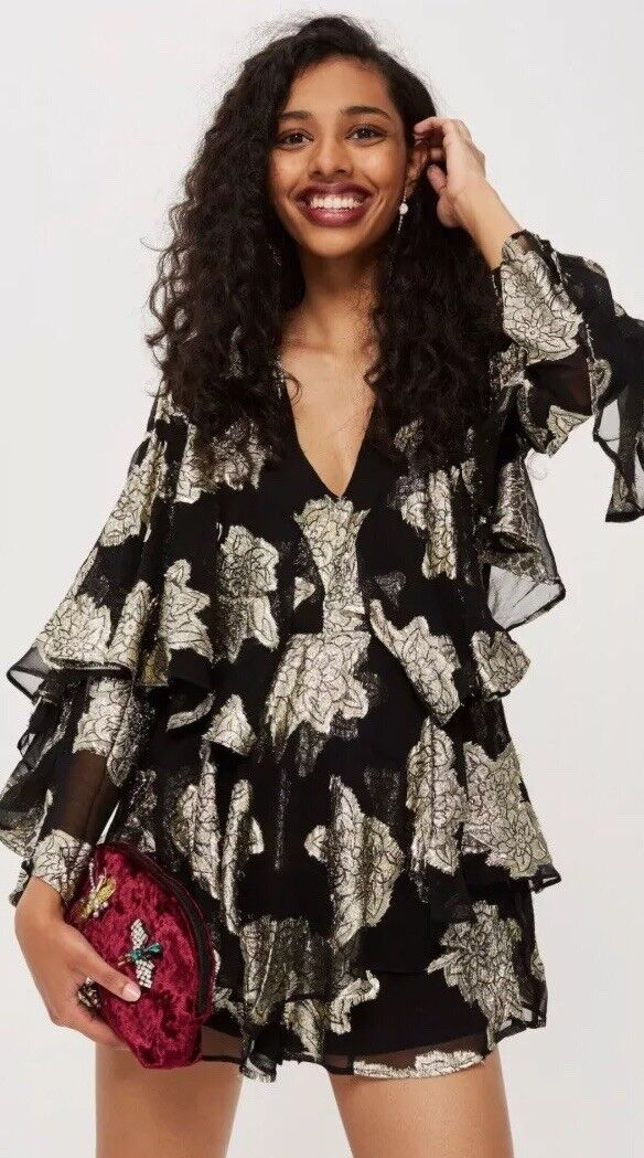 Topshop gold Ruffle Sleeve Playsuit Rrp