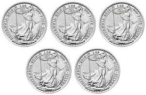 Lot of 5 - 2016 Great Britain 1oz Silver Britannia .999 Fine BU