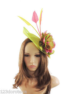 Lime Green   Fuchsia Pink Fascinator Hat for weddings ascot proms G7 ... 97b17dae27f