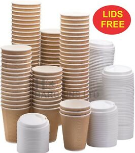 100-X-Kraft-Cups-Disposable-Coffee-Cups-Paper-Cups-100-LIDS-FOR-FREE-Sealed