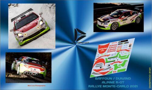Décal 1//43 ALPINE A110 R-GT BAFFOUN MONTE-CARLO 2021