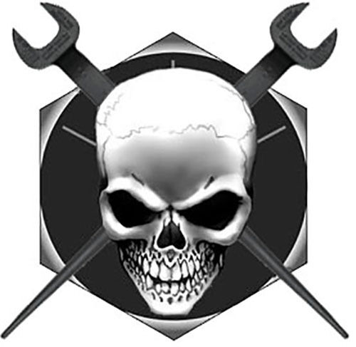 Ironworker Skull//Crossed Spuds on Bolt head Decal//Sticker FREE SHIPPING!!