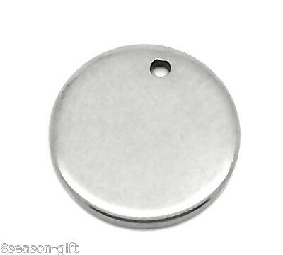 "50PCs Silver Tone Stainless Steel Round Pendants 10mm( 3/8"")"