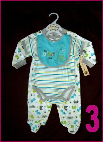 NEW BABY 3 Pc ROMPER GIFT SET 3-6 mths BOYS BodySuit with Bib Blue 0-3