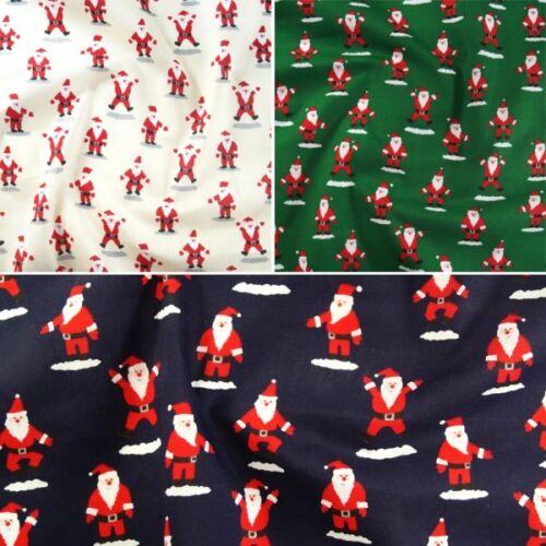 Polycotton Fabric Merry Father Christmas Jumping Jack Santa Claus Xmas Jolly