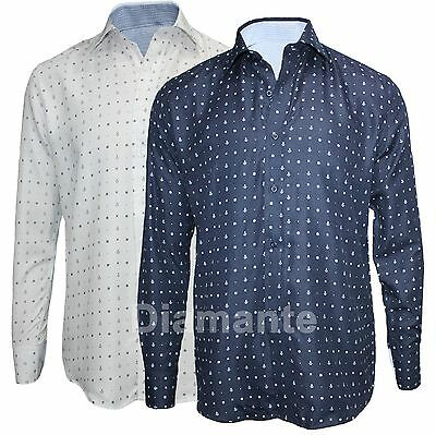 Camicia Uomo Basic Regular Fit Cotone Manica Lunga Fantasia Ancora Nuovo C4073 Ultima Tecnologia