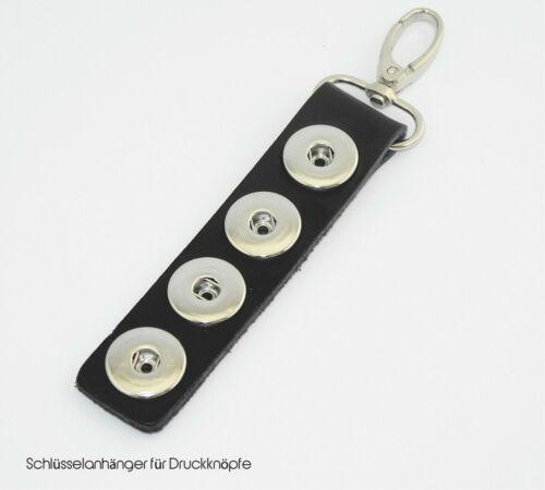 Schlüsselanhänger Chunks Leder für vier Druckknöpfe Click Button schwarz
