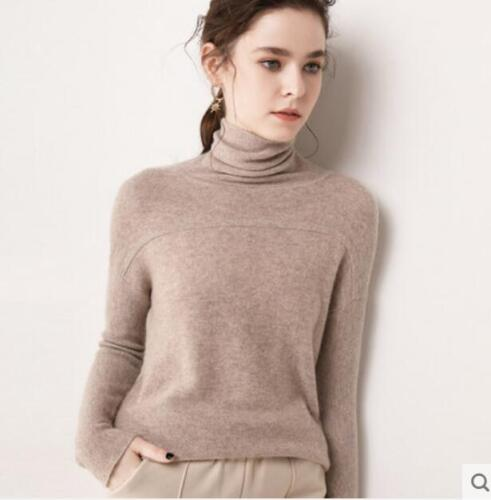 Womens Thick Long Sleeve Slim High-Neck Sweater Cashmere Tops Turtleneck Zsell