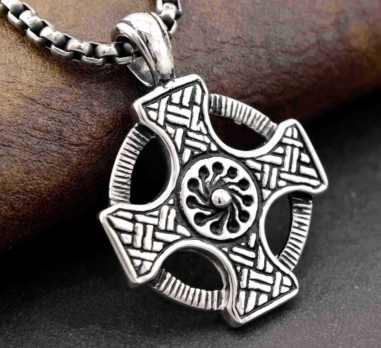 316L Stainless Steel Gothic Celtic Cross Men/'s Biker Charm Pendant Necklace