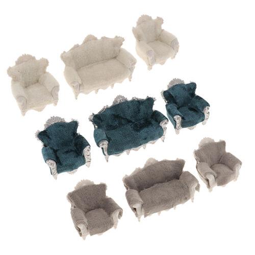Fein 1:30 Maßstab Puppenhaus Miniatur Möbel Wohnzimmer Set Sofa Couch