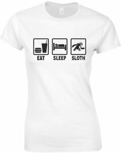 Eat-Sleep-Sloth-Ladies-Printed-T-Shirt-Women-Short-Sleeve-Tee-New-Size-S-M-L-XL