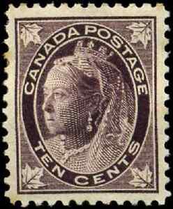 Canada-73-mint-VF-OG-HR-DG-1897-Queen-Victoria-10c-brown-violet-Maple-Leaf