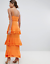 Missguided-Orange-Strappy-Ruffled-Tiered-Maxi-Dress-Size-6-10 thumbnail 2