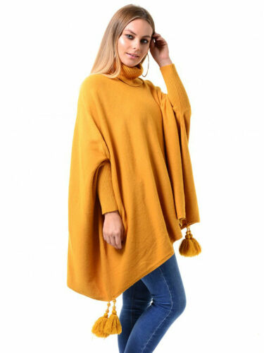 Womens Italian Batwing Boxy Polo Tassels Poncho Ladies Knitted Cape Plus Size
