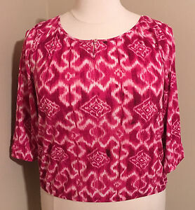Chico-039-s-Knit-Top-Pink-Multicolor-Ikat-3-4-Sleeves-Summer-Elastic-Hem-Size-3-XL16