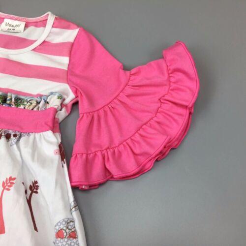 NEW Girls Boutique Jungle Animals Paris Eiffel Tower Short Sleeve Ruffle Dress