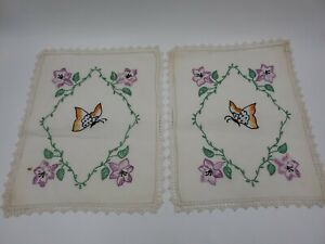 Vintage Hand Embroidered Floral Butterfly Linen Crochet Lace Rectangular Doily