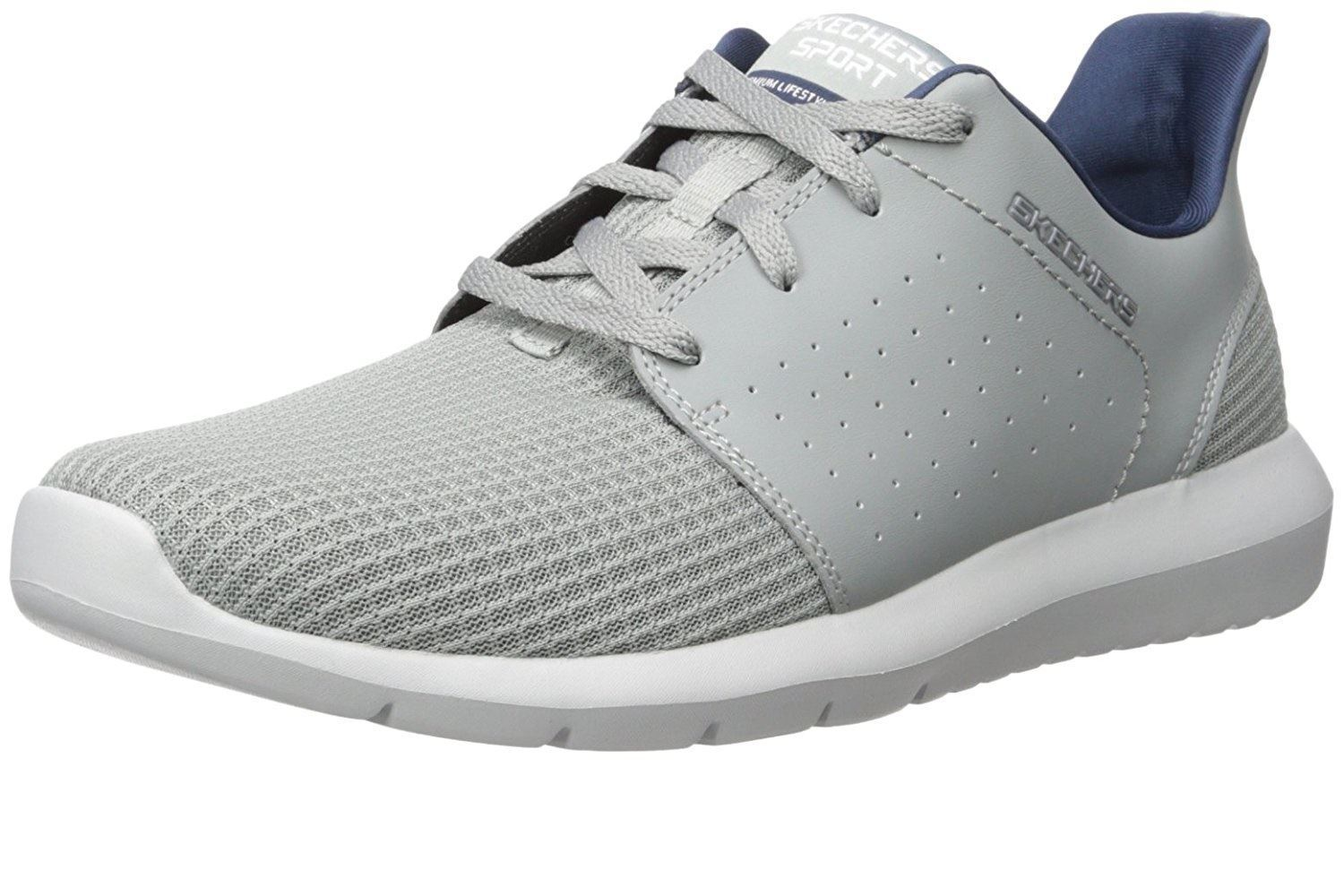 SKECHERS Men's Foreflex lace up athletic walking and training sneaker in Grey
