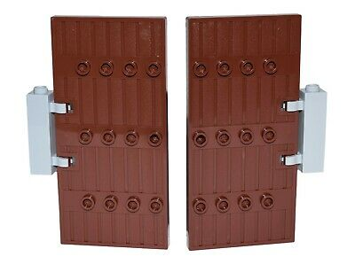 Lego Stockade Doors Reddish Brown Decorated with Hinge Bricks 1 x 5 x 8.5 New
