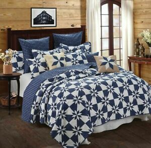 Hunters Star Blue White King Quilt Set Country Farmhouse