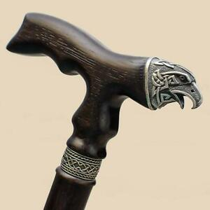 Cool-Wooden-Men-039-s-Walking-Cane-Celtic-Crow-Hand-Carved-Walking-Stick-Wood