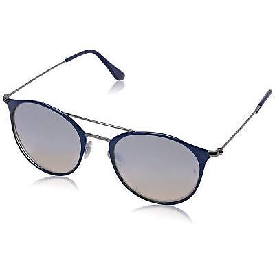 Ray Ban Gray Mirror Round Blue Double Bridge Sunglasses RB3546 9010/9U 52-20