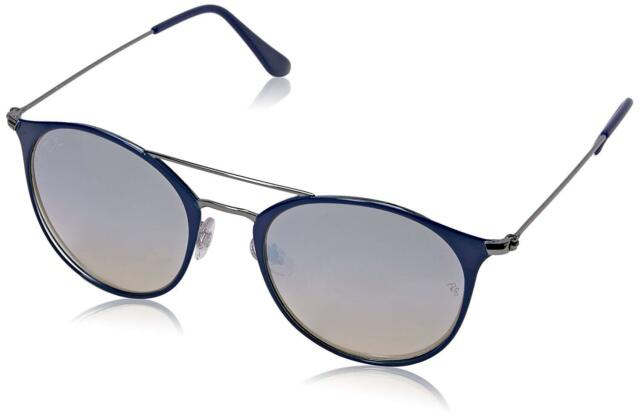 ec9dd4ab946 Ray Ban Gray Mirror Round Blue Double Bridge Sunglasses RB3546 9010 9U 52-20