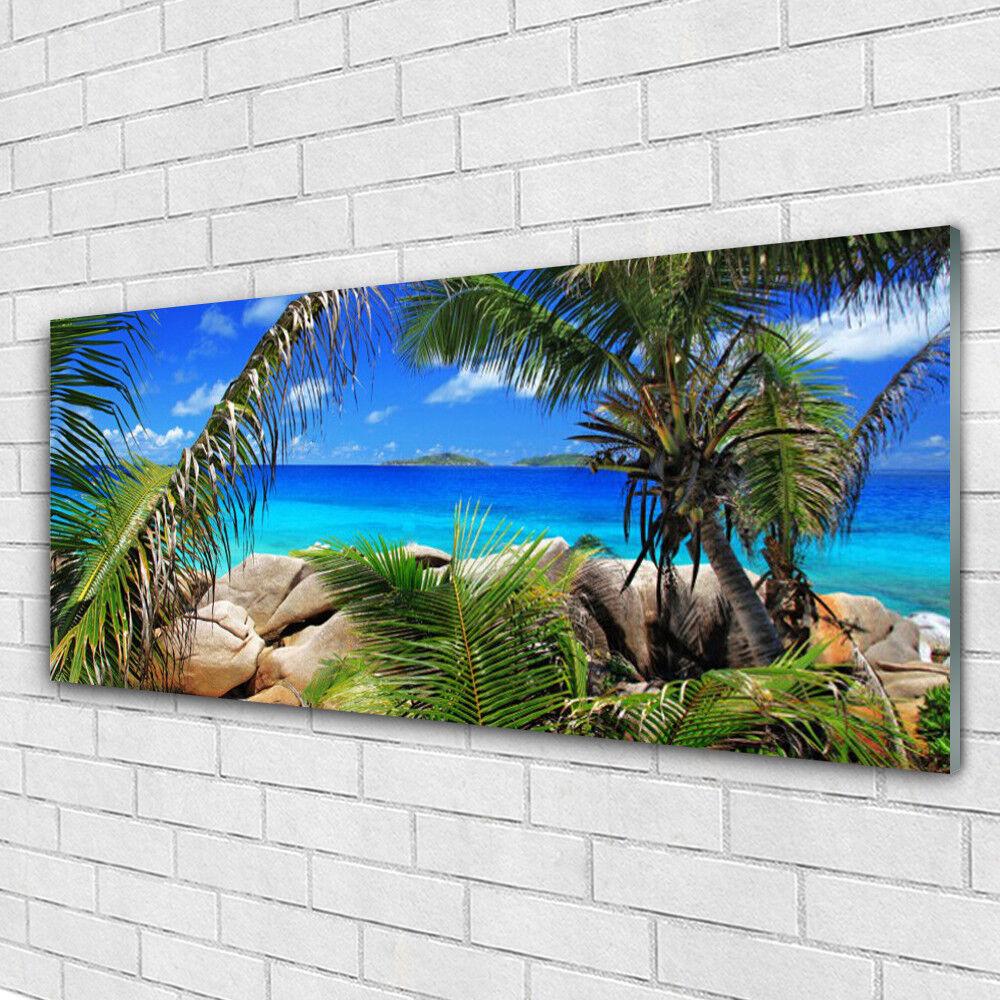 Acrylglasbilder Wandbilder Druck 125x50 Fels Blätter Landschaft