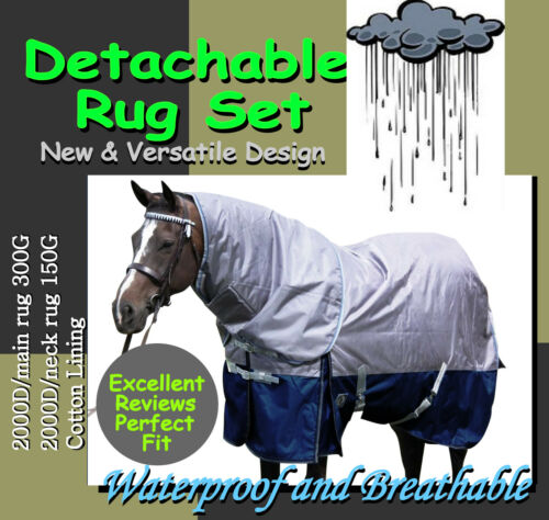 "COMFORT VERSATILE DETACHABLE 2000D 5'0"" WINTER PADDOCK HORSE RUG SETs"