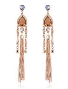 Fashion-Vintage-Women-Rhinestone-Crystal-Tassel-Dangle-Ear-Stud-Earrings-Jewelry