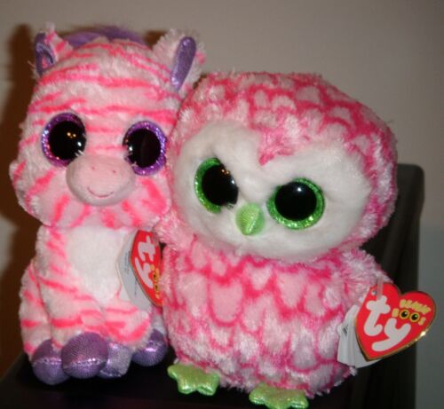 "NEW MWMTS /& ZAZZY Owl Claire/'s Exclusives 6/"" Zebra Ty Beanie Boos ~ BUBBLY"