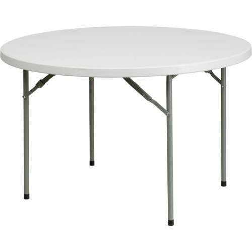 48'' Round Granite White Plastic Folding Table FLARB48RGG