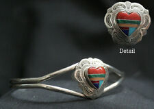 Genuine Sterling Silver Navajo Zuni Heart Bracelet - Native American Indian Gift