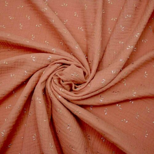 100/% Cotton Muslin Dressmaking Fabric Marsala Pinchon Gold Drop Double Gauze